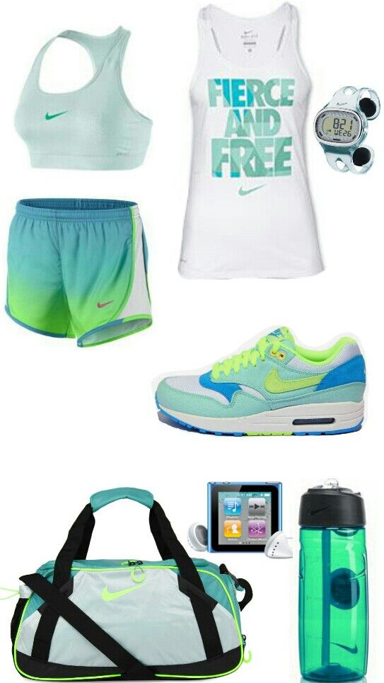Women's fashion blue green nike gym outfit