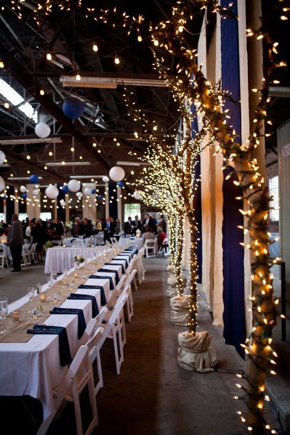 lighted trees for wedding reception / http://www.deerpearlflowers.com/navy-blue-and-white-wedding-ideas/2/