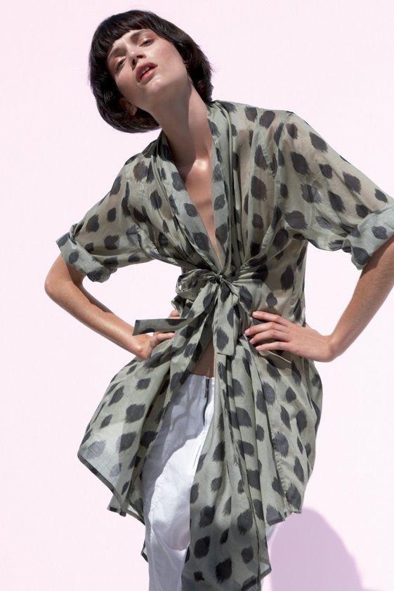 BITTE KAI RAND Green Black Fine Cotton Quirky Lagenlook Summer Coat Jacket 16 L