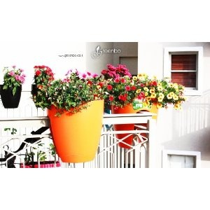 modern, sleek saddle planter for balconies and railings, indoors and out.Orange railimg /fence/garden plant pot: Amazon.co.uk: Garden & Outdoors