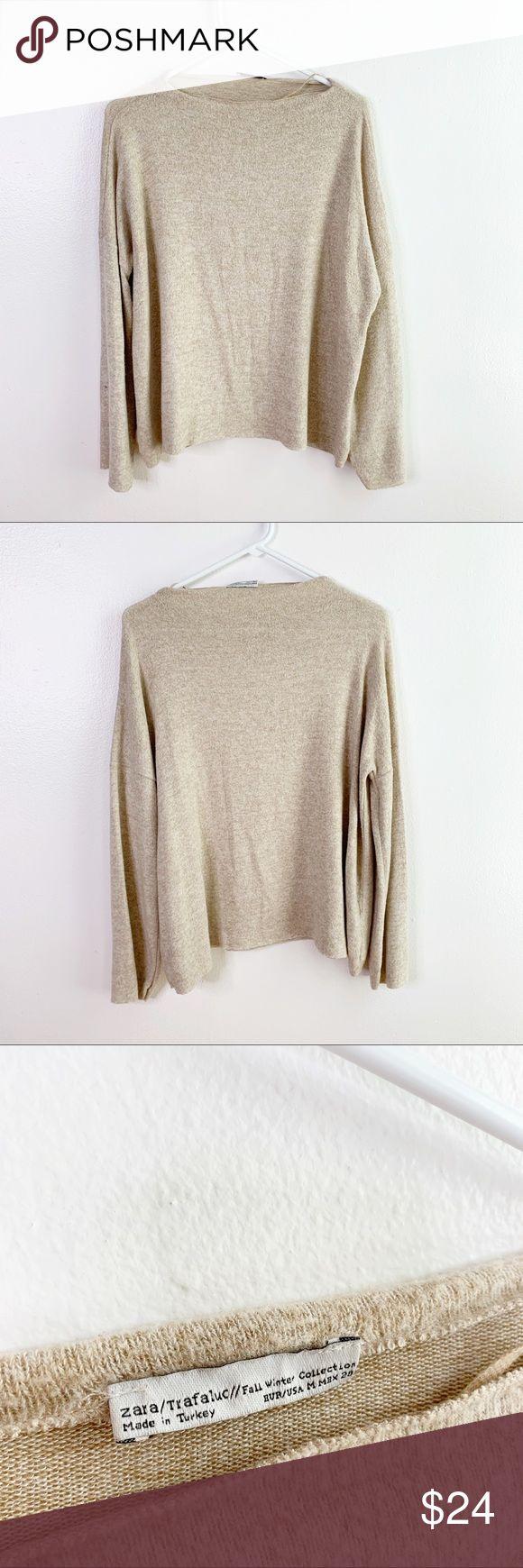Zara High Neck Ultra Soft Fuzzy Pullover Beige Tan Zara High Neck Ultra Soft Fuz…