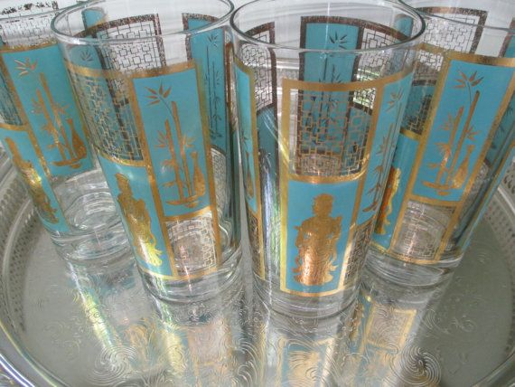 Perfect Retro Teal And Gold Barware ~ Asian Design