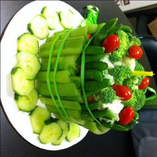 "A vegetable ""cake"" - a cool new way to serve a veggie tray!"