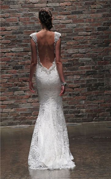 beach wedding dresses... love the open back.