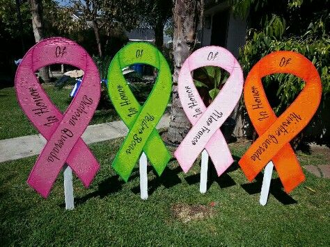 RELAY FOR LIFE YARD SIGNS or make to line the track with so many colors representing all the different cancers