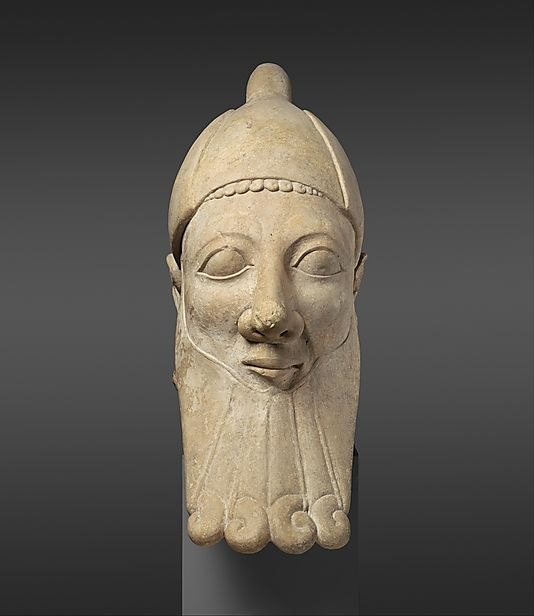 Limestone head of a bearded man,     Archaic,  early 6th century B.C.,    Cypriot