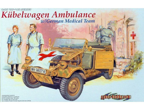 The Dragon Kubelwagen Ambulance and German Medical Team Model Kit in 1/35 scale from the plastic tank model kits range accurately recreates the real life WWII German vehicle.