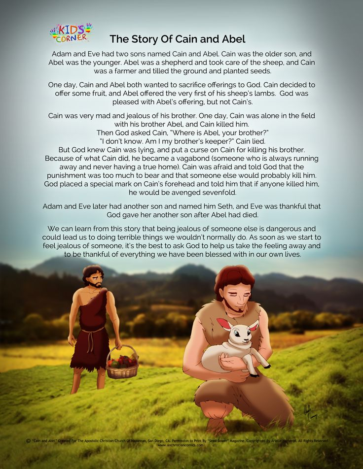 "We just added a Bible story under our ""FREE STUFF - Comics/Story Strips"" page, called ""The Story of Cain and Abel"" based off of the account in Genesis chapter 4 (originally created for the Seed Sower magazine). Art done by Arielle Namenyi. Visit: http://www.anchristiancomics.com/#!blank/cl0j"