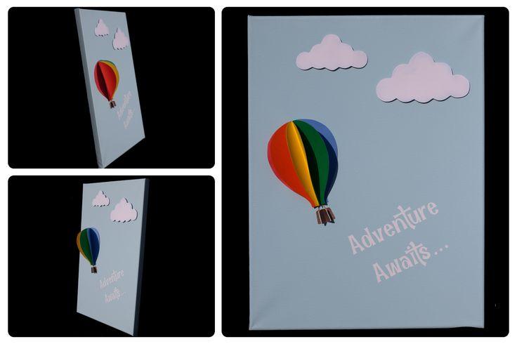 3D Nursery Art - Hot Air Balloon and Clouds - Adventure Awaits...