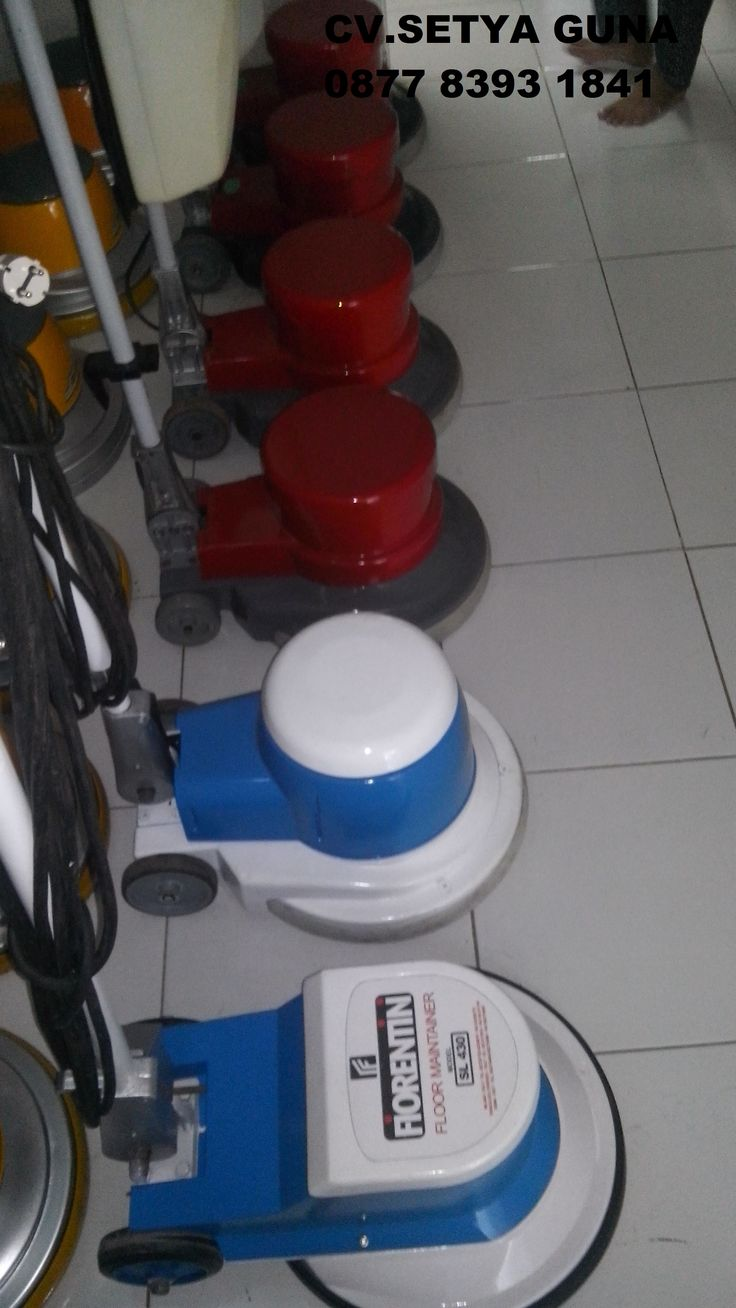jual mesin poles lantai/floor polisher Cina Hp.087783931841  Power : 1100 W  Diameter : 17″  Speed : 154 Rpm  Weight : 50 Kg  Cable : 12 M  Including : hard brush,soft brush,pad holder,water tank  Country : Italy   Harga Baru  5,5 Juta  Harga Second  3,5 Juta
