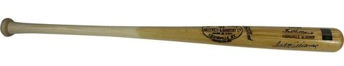 Ted Williams Red Sox Signed Game Model Louisville Slugger Bat Green Diamond
