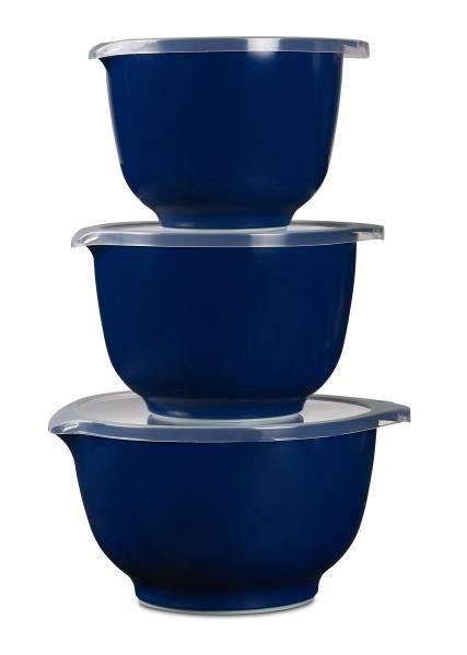 Margrethe røreskålsæt fra Rosti.   3 skåle. Kapacitet:1,5 + 2+ 3 L. 3 låg. Farve: indigo