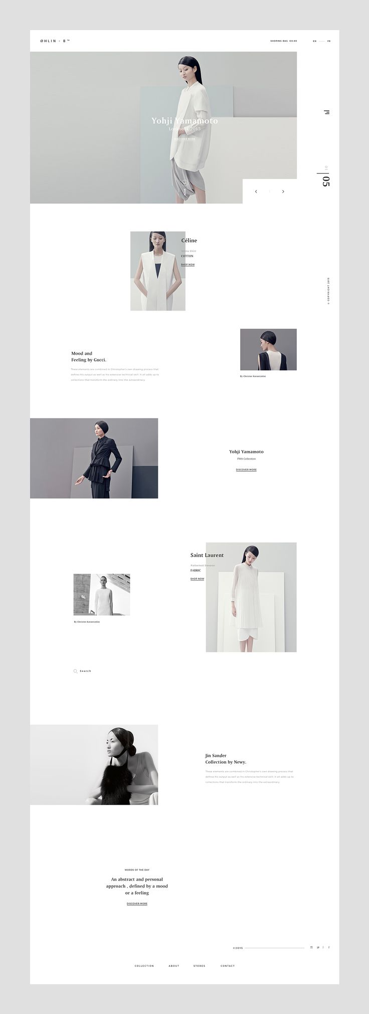 White and minimalistic website layout, that reflects the contemporary style of the private bookstore.