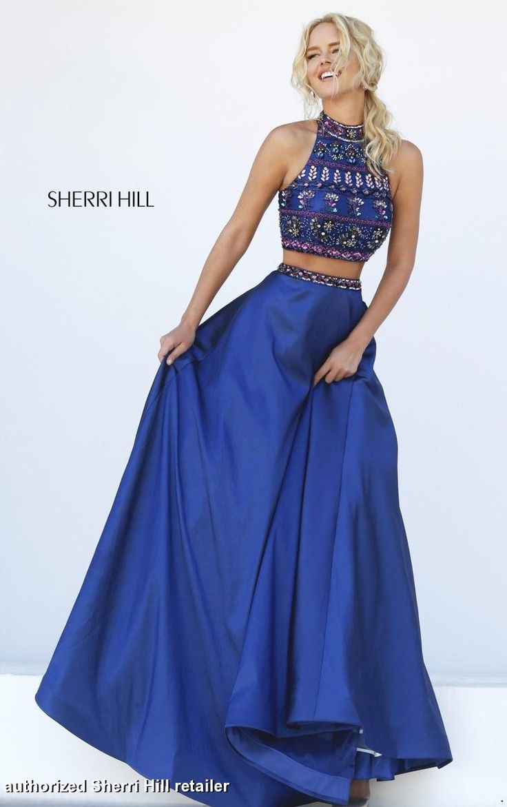 32366 Sherri Hill.Sherri Hill Prom. Long, blue prom dress. Sherri Hill prom 2016. Sherri Hill designs. flowy prom dress. get prom ready. two-piece prom dress. navy blue prom dress.