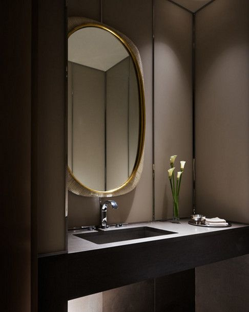 .Powder Room - Love love love the palette and oval mirror.