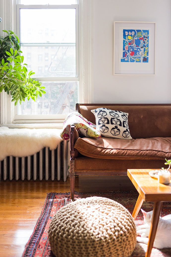 living room poufs%0A An ArtFilled Apartment in New York City