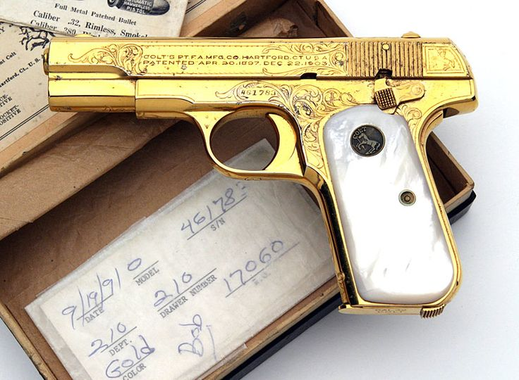 Colt Model 1903 Pocket Hammerless .32 ACP serial number 461783 - Factory engraved and factory gold plated with mother of pearl grips.  This pistol originally left the Colt factory in this configuration and was shipped to Quinn & Co., Providence, RI on October 6, 1925.