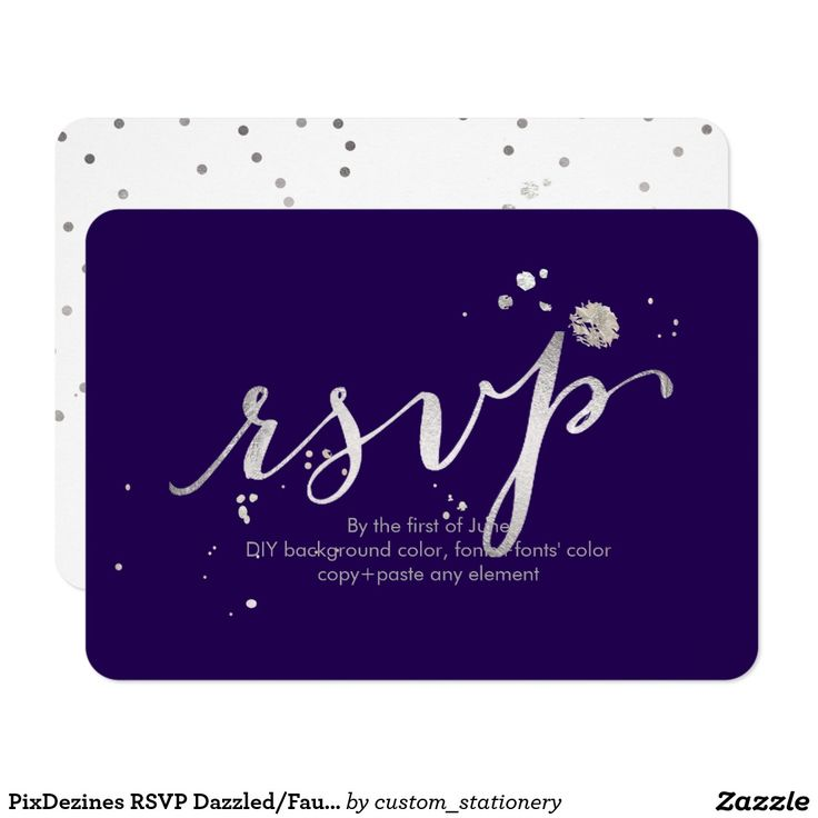 Shop PixDezines RSVP DazzledFaux SilverDIY Background Card