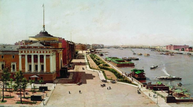 View on the Admiralty Embankment and Neva River from the Winter Palace in Saint Petersburg,  by Alexander Beggrov