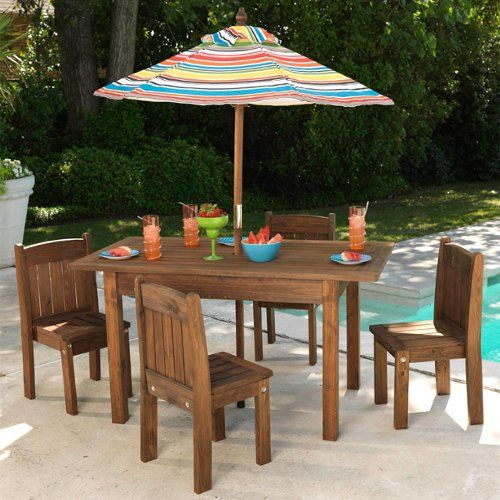 KidKraft Table And Stacking Chairs With Striped Umbrella, Found At  TuesdayMorning.com @tuesdayam