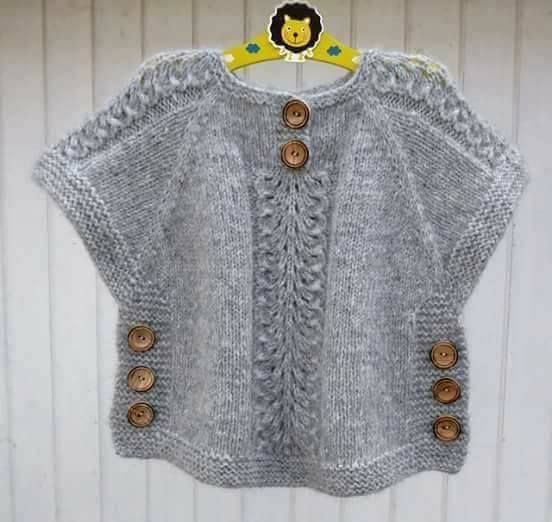 """nerimanin pançosu [   """"knit sweater tunic poncho with side buttons kids sweater"""",   """" Idea for poncho like top"""",   """"j aimerais avoir les explications sv p merci"""",   """"haven"""