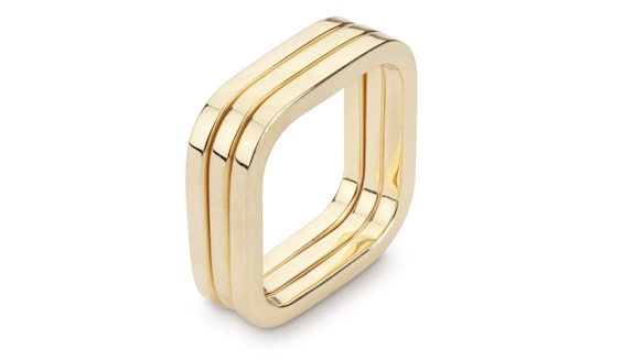 Handmade 18ct yellow gold three square ring stack