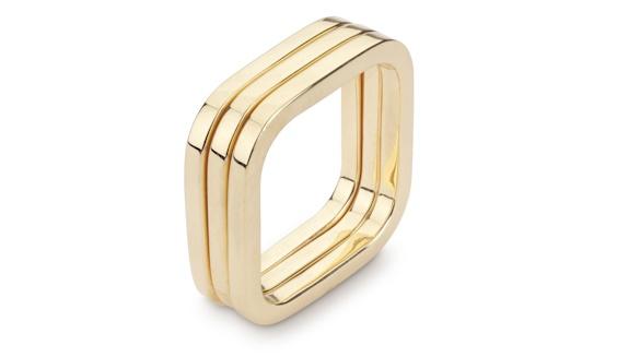 Handmade 18ct yellow gold three square ring stack