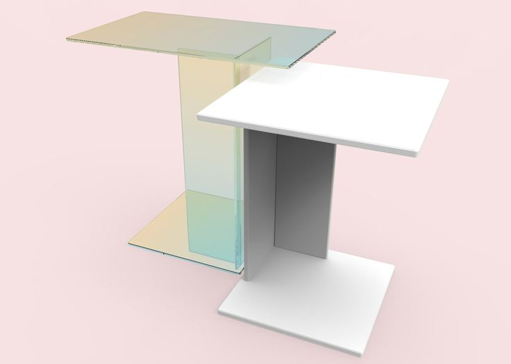 Kukka Studio's tables contrast iridescent glass with quartz