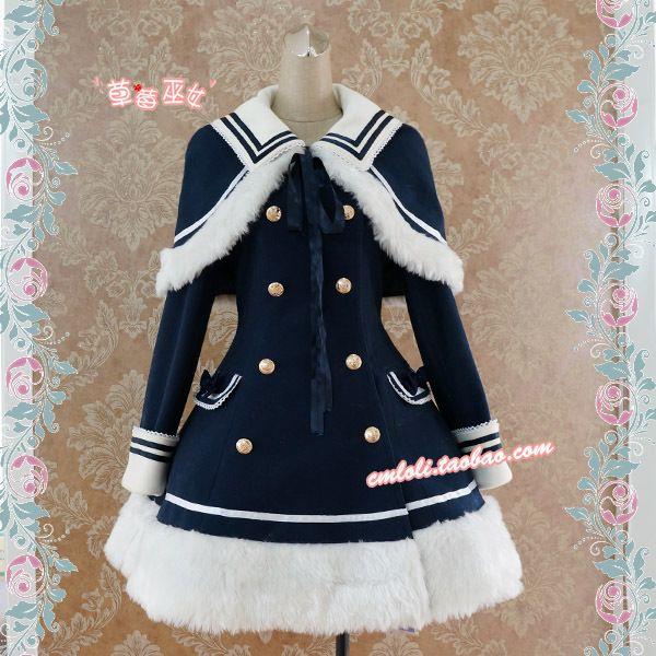 【草莓巫女】LOLITA洛丽塔洋装 藏青改良版海军风呢子大衣含披肩