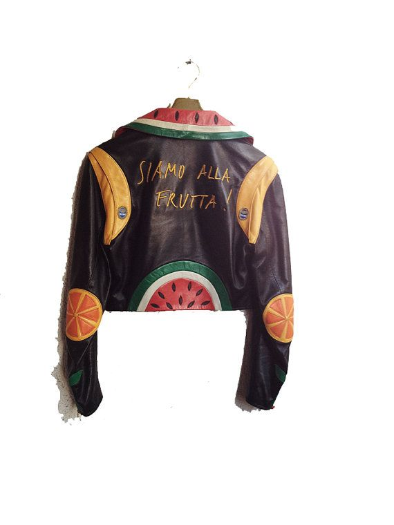 Leather Moschino Fruit Jacket 80s Authentic Rare by WitchOfVintage