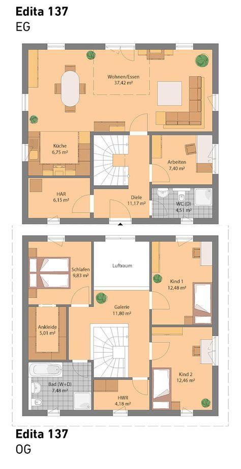 Grundriss ohne Keller (auch mit Keller möglich) …