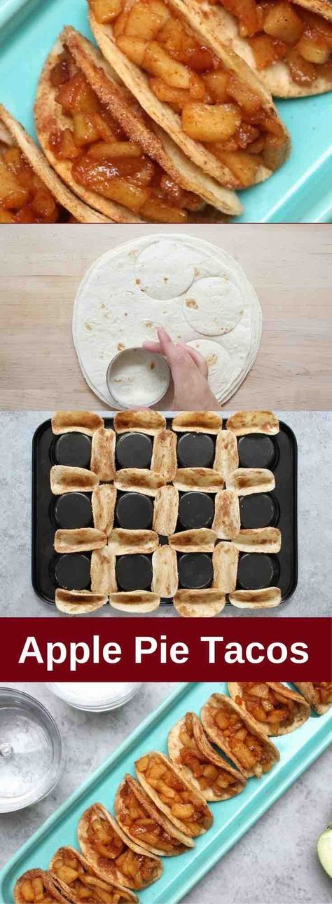 Super Easy Baked Apple Pie Tacos – delicious cinnamon sugary apple filling in a crispy and sweet taco, drizzled with caramel sauce, and then topped with whipped cream! The easiest dessert that comes together in no time. All you need is a few simple ingredients: Flour Tortillas, butter, cinnamon, sugar, apples, lemon, caramel sauce and whipped cream. It's the perfect way to serve apple pie to a crowd! Quick and easy recipe. Great for party dessert and holiday brunch such as Easter, Mother's…