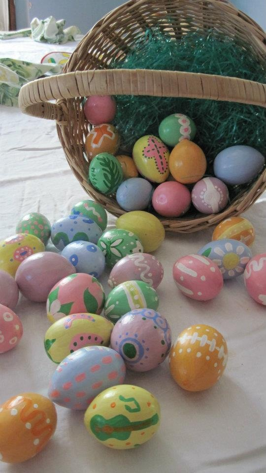 """My mom is too cute.    Painted egg-gourd Easter """"eggs."""" Lightweight, durable, and re-usable."""