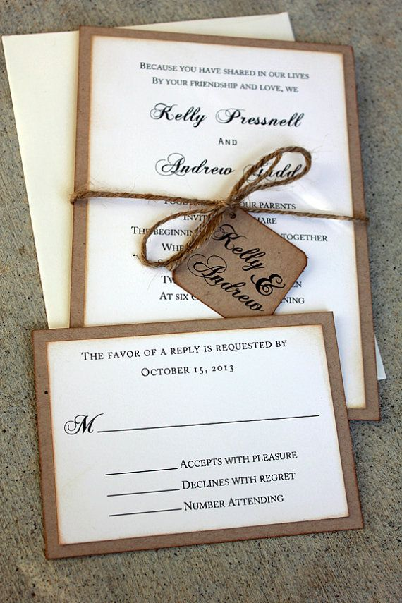 Rustic Wedding Invitation Set handmade by me, Rustic Wedding, Vintage Wedding, Rustic Kraft Wedding Invitations, Shabby Chic Invitations on Etsy, $4.50