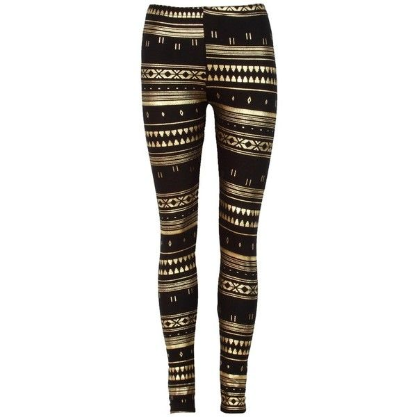 Gold Foil Tribal Print Black Jersey Leggings ($20) ❤ liked on Polyvore featuring pants, leggings, bottoms, jeans, calças, tribal leggings, black trousers, tribal print leggings, jersey leggings y jersey knit pants