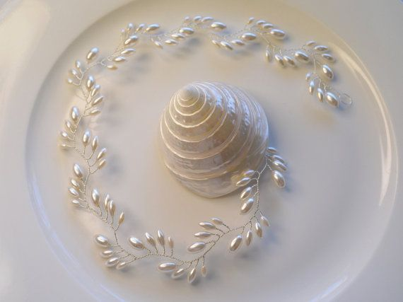 Art Deco nupcial pelo vid perla nupcial por RoslynHarrisDesigns