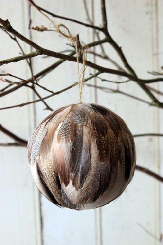 Feather Globe Christmas Decoration - Natural colour palette