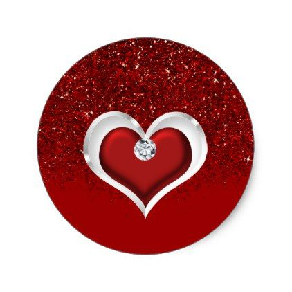 Diamond Heart Red Glitter Sparkle Glam Modern Classic Round Sticker - bridal gifts bride wedding marriage