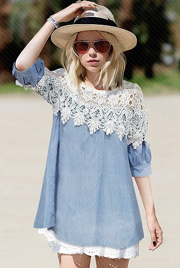 Blue Contrast Lace Hollow Denim Dress - Fashion Clothing, Latest Street Fashion At Abaday.com