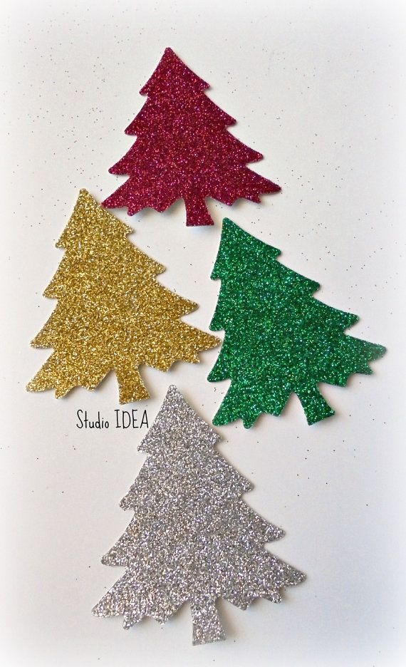 30 Large Glitter Silver Gold Green & Red Christmas by StudioIdea