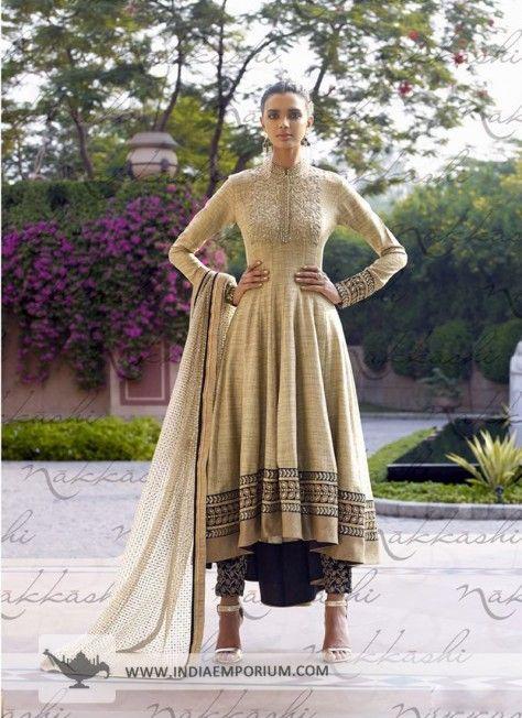 Beige Dazzling Khadi Designer Asymmetrical Suit