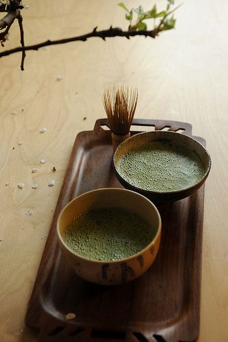 Matcha Tea and Pear Petals