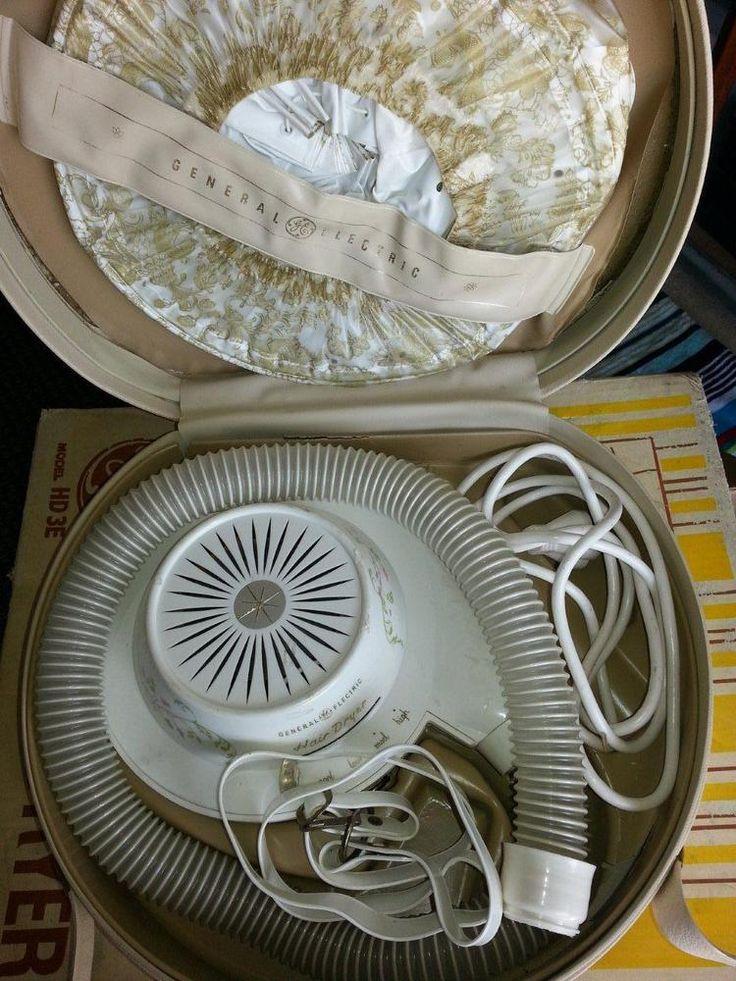 Vintage Retro General Electric Bonnet Type Hair Dryer.