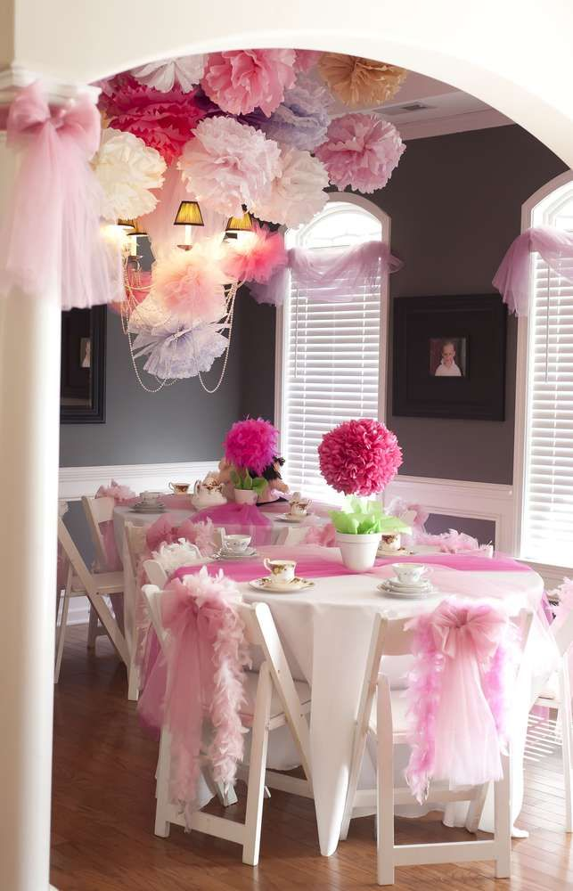 Super cute room decorating idea! Simple when you make the paper pom poms yourself! A simple white table cloth with pink tulle... easy to do!
