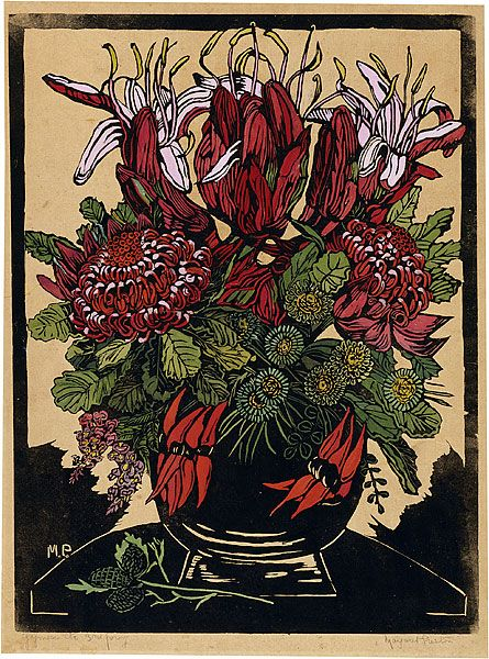 Margaret PRESTON Illawarra lilies and waratahs, 1929 relief woodcut, printed in…