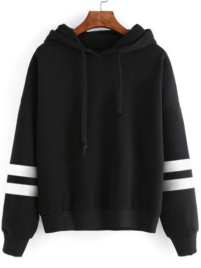 Cut-Outs Sweatshirt mit Kapuzem Baseball Streiftem  -schwarz