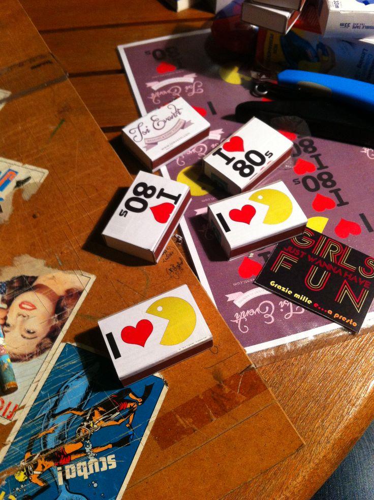 cerini, personalizzati, fiammiferi, anni 80, 80s, party www.isieventi.com