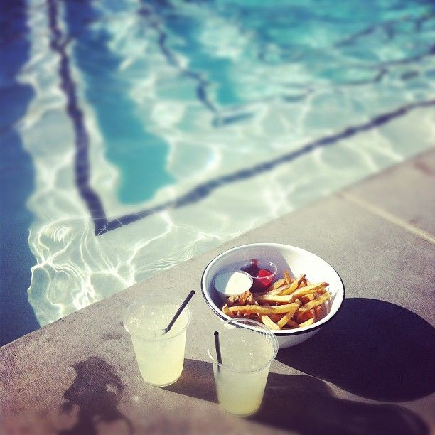 fries and lemonade by the pool.Pools Fun, Summer Pools, Afternoon Summer, French Fries, Recommendations Places, Pools Day, Good Time, Sweets Summertime, Summer Time