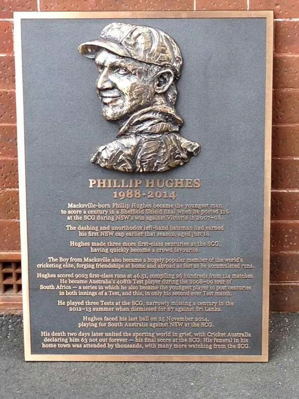 Bronze plaque in honour of Phillip Hughes outside the Australian dressing room at Sydney Cricket Ground.A♥W  #sydneylove #philliphughes