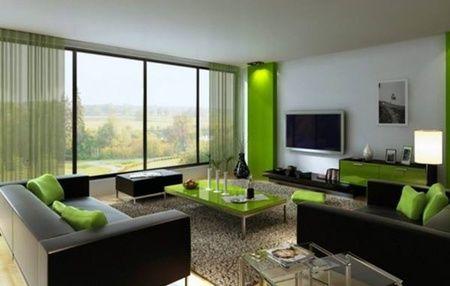 Sofa berwana hitam dan bantal sofa berwarna hijau bisa membuat suasana ruang keluarga menjadi lebih menarik.